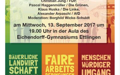 Ettlinger Bundestagskandidaten nehmen Stellung zu Fragen des Welthandels und zu Fluchtursachen